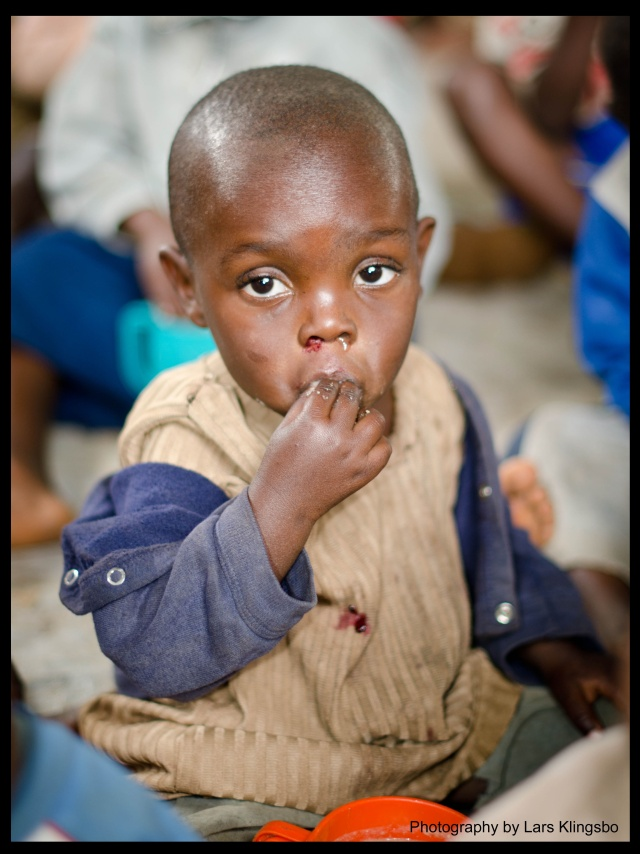 Boy in nutrition project outside Bukavu DR Congo